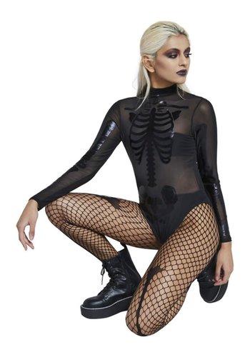Fever Skelet Body Stocking - Zwart