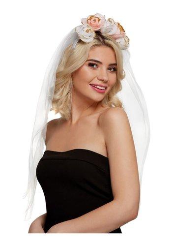 Floral Hoofdband Bride - Wit / Roze