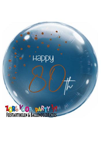 Folieballon Elegant True Blue 80 Jaar - 45cm