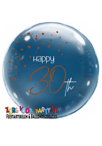 Folieballon Elegant True Blue 30 Jaar - 45cm