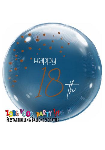 Folieballon Elegant True Blue 18 Jaar - 45cm
