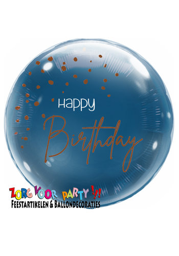 Folieballon Elegant True Blue Happy Birthday - 45cm