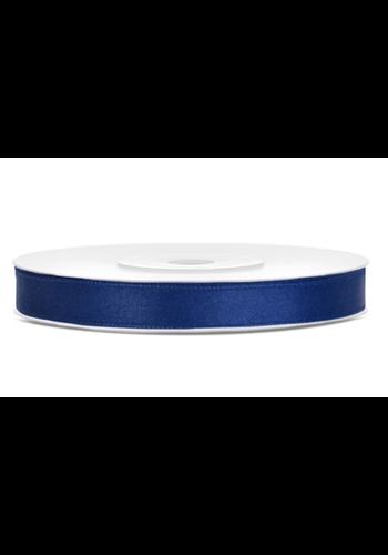 Satijn Lint Marine Blauw - 6 mm x 25 mtr