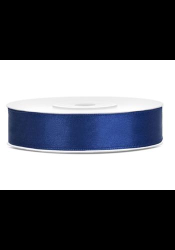 Satijn Lint Marine Blauw - 12 mm x 25 mtr