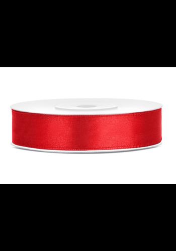 Satijn Lint Rood - 12 mm x 25 mtr
