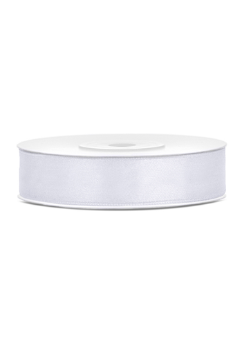Satijn Lint Wit - 12 mm x 25 mtr