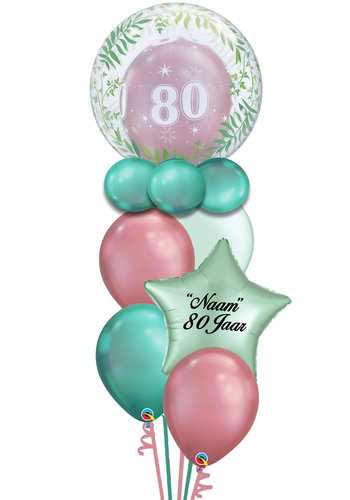 Double Bubble Leeftijd Balloon Set Met Naam