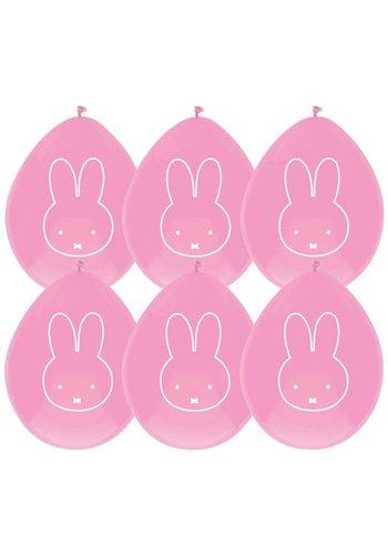 Ballonnen Nijntje roze - 6 st - 30cm