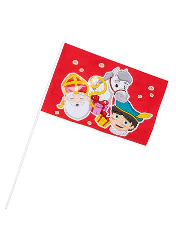 Sinterklaas Zwaai vlaggetje - 17x25cm / 40 cm stok