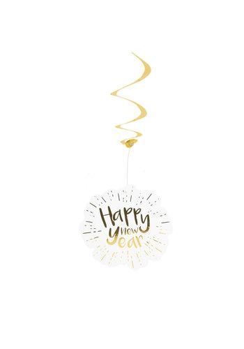 Happy New Year Decoratie Swirls - 2st - 85cm