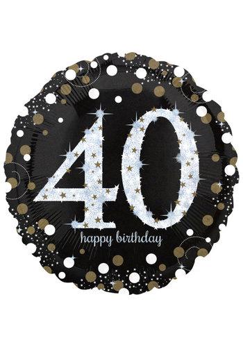 Folieballon Jumbo Sparkling Birthday 40 - 71cm