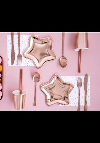 Papieren bordjes Ster - Rosé Gold - 6st - 18cm