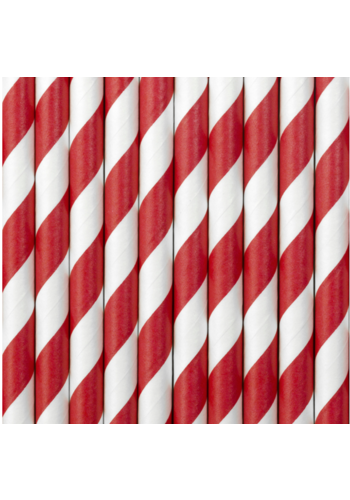 Papieren rietjes - Rood / Wit - 19,5 cm - 10 stuks