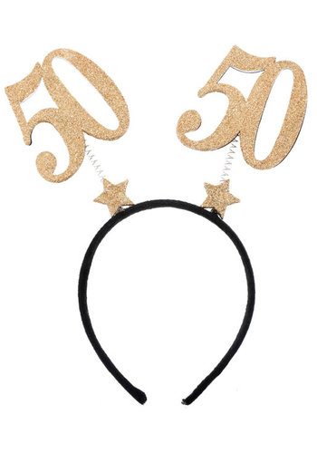 Glitter Tiara Goud - 50 Jaar