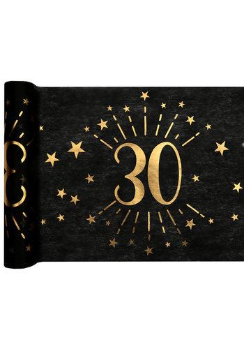 Tafel loper Zwart / Goud - 30 Jaar - 30 x 500cm
