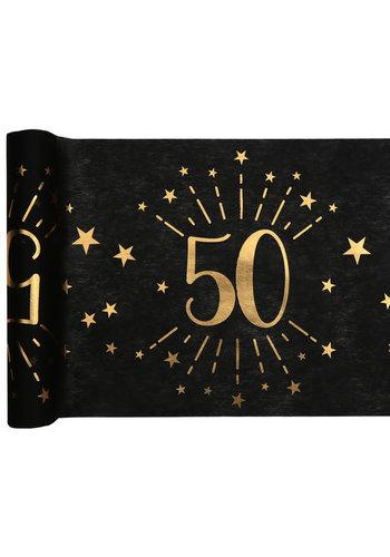 Tafel loper Zwart / Goud - 50 Jaar - 30 x 500cm