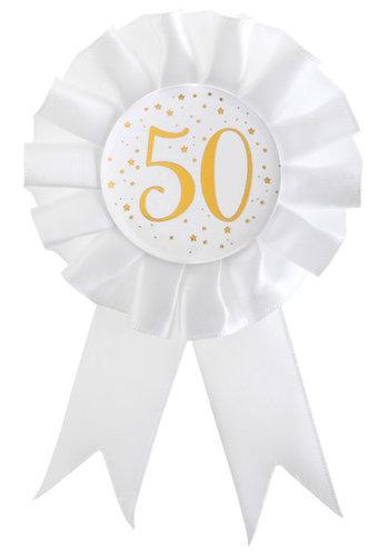 Rozet Wit / Goud - 50 Jaar