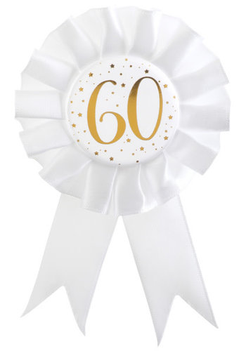 Rozet Wit / Goud - 60 Jaar