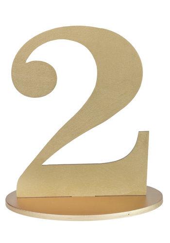Metallic Tafel Nummer Goud - 2 - 14 x 9.5 x 17 cm
