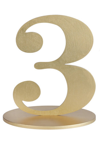 Metallic Tafel Nummer Goud - 3 - 14 x 9.5 x 17 cm