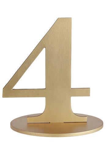Metallic Tafel Nummer Goud - 4 - 14 x 9.5 x 17 cm