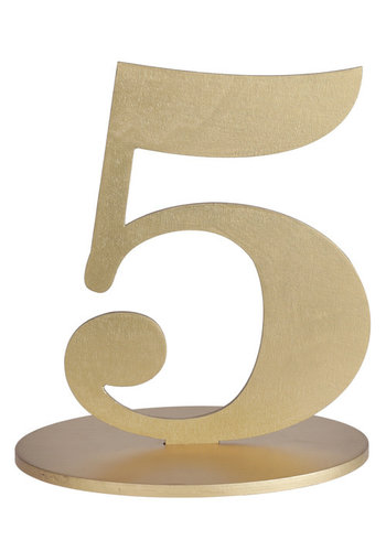 Metallic Tafel Nummer Goud - 5 - 14 x 9.5 x 17 cm