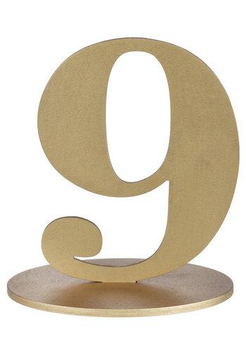 Metallic Tafel Nummer Goud - 9 - 14 x 9.5 x 17 cm
