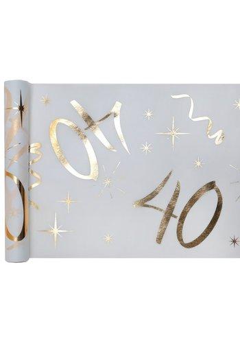 Tafel loper Wit / Goud - 40 Jaar - 30 x 500cm