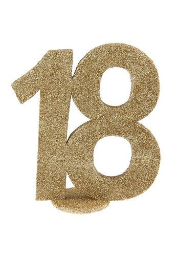 Glitter Tafel Nummers Goud - 18 - 11 x 10 cm