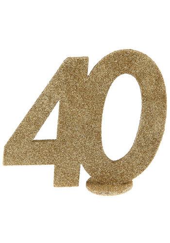 Glitter Tafel Nummers Goud - 40 - 11 x 10 cm