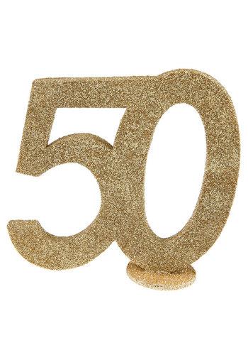 Glitter Tafel Nummers Goud - 50 - 11 x 10 cm