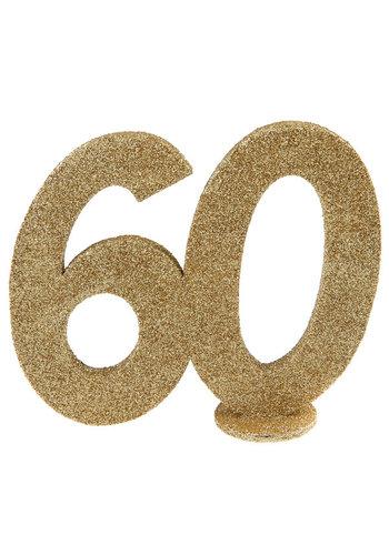 Glitter Tafel Nummers Goud - 60 - 11 x 10 cm