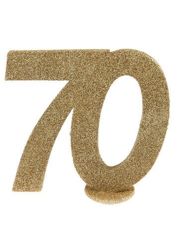 Glitter Tafel Nummers Goud - 70 - 11 x 10 cm