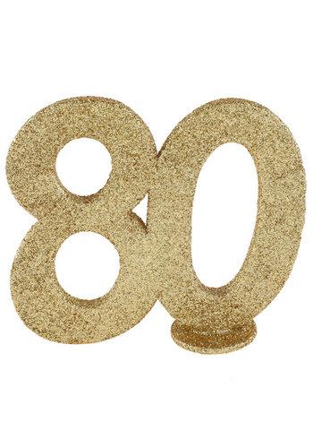 Glitter Tafel Nummers Goud - 80 - 11 x 10 cm