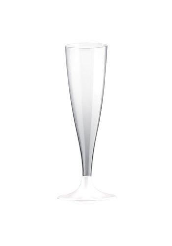 Champagne Glas met witte voet - 6st - 140ml