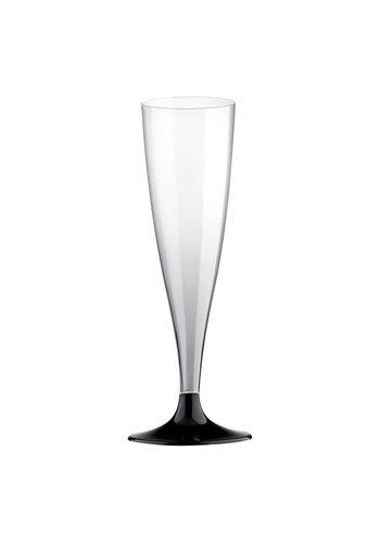 Champagne Glas met zwarte voet - 6st - 140ml