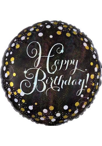 Folieballon - Sparkling Zilver Happy Birthday - 45cm