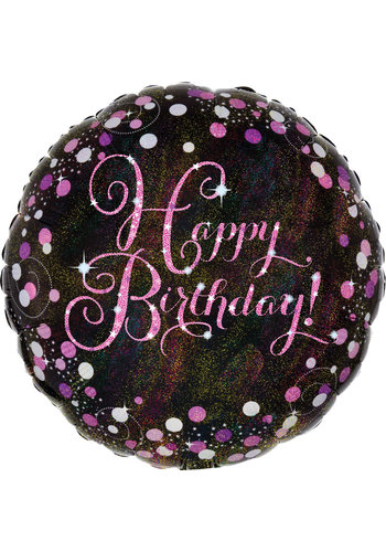Folieballon - Sparkling Pink Happy Birthday - 45cm