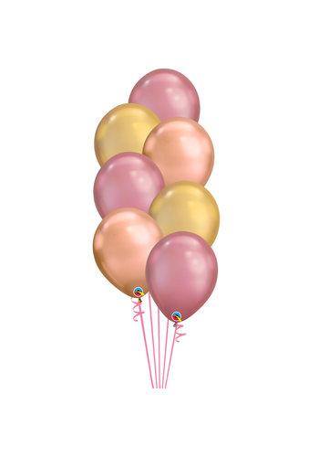 Staander Chrome Pink - 7 Heliumballonnen