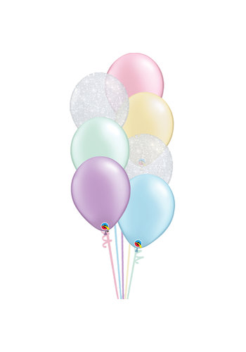 Staander Pastel Glitter - 7 Heliumballonnen