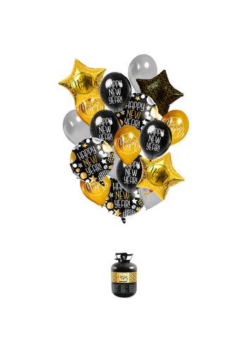 Heliumfles Happy New Year - Incl Ballonnen & Lint