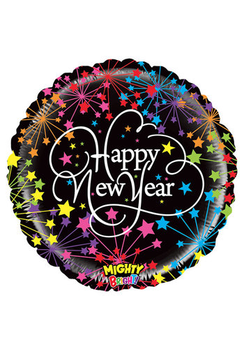 Folieballon Happy New Year Fireworks - 45cm