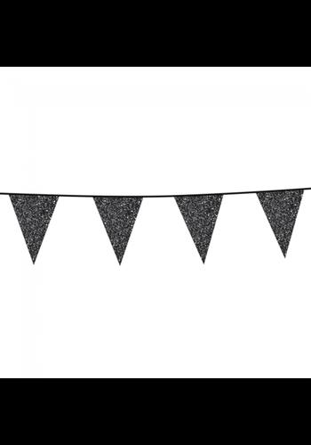 Sparkling Antraciet/zwart glitter vlaggenlijn - 6 meter - 20x30cm