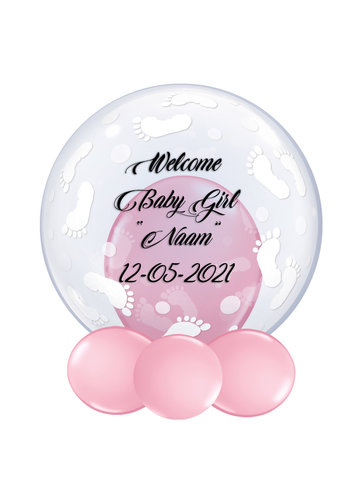 Bedrukte Ballon - Welcome Baby Girl