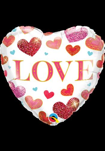 Folieballon Love Jewel Hearts - 45 cm