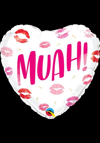 Folieballon Heart Muah - 45 cm