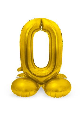 Folieballon met Standaard Cijfer 0 Goud - 72 cm