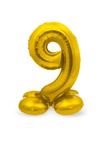 Folieballon met Standaard Cijfer 9 Goud - 72 cm