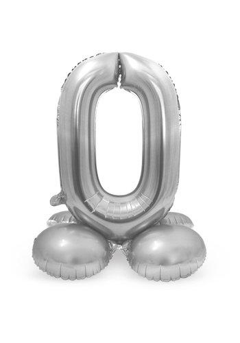 Folieballon met Standaard Cijfer 0 Zilver - 72 cm