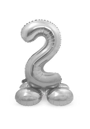 Folieballon met Standaard Cijfer 2 Zilver - 72 cm